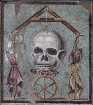 Roman mosaic found in Pompeii, showing the wheel of fortune and life hanging from a string, with death lurking in every moment of life...