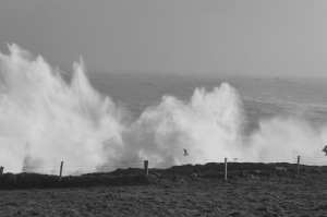 Photo: turbulent waves on the West Cork shore. By Eoin Milner.